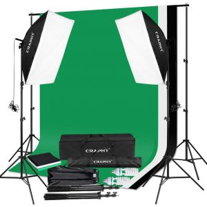CRAPHY Photography Video Softbox Continuous Lighting Kit Equipment